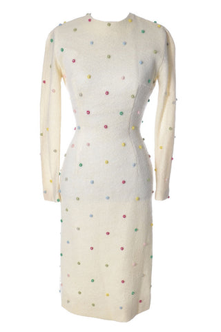 1960's Maison Mendessolle Vintage Ivory Shift Cocktail Dress with Rhinestones