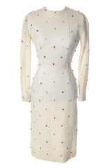 Anne Fogarty Vintage White Wool Dress