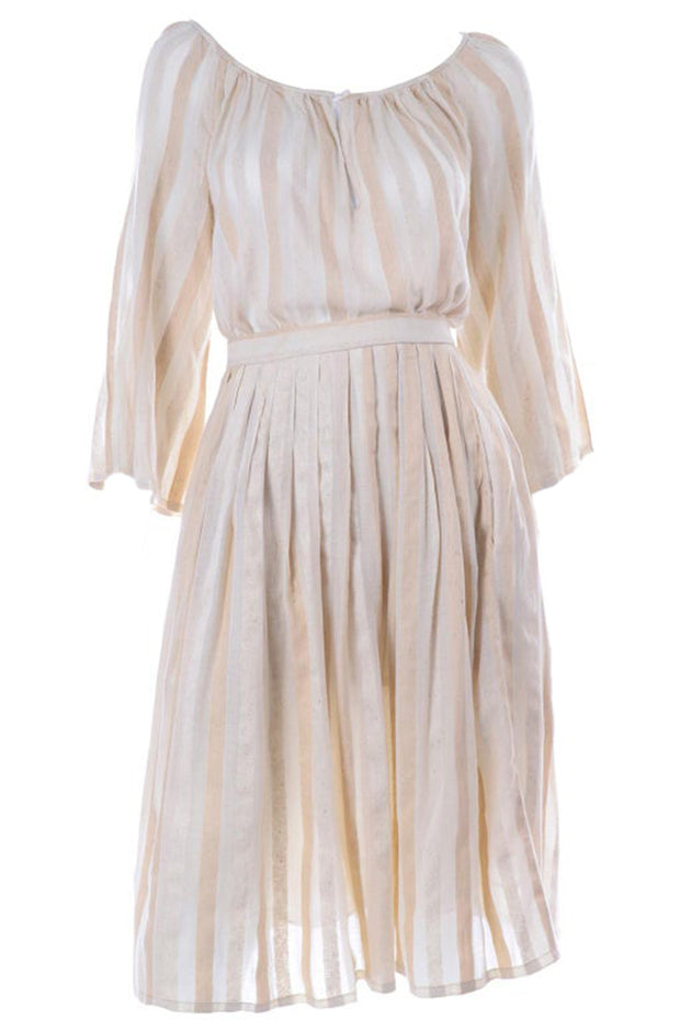 Anne Klein Natural Oatmeal Silk & Linen Stripe 2 Piece Vintage Dress 6