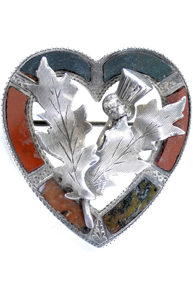 Agate Inlaid Sterling Silver Victorian Scottish Thistle Vintage Heart Brooch - Dressing Vintage