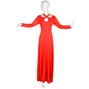1970s Arbe Vintage Dress Maxi in Red Orange Knit - Dressing Vintage
