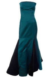 Vintage Scaasi strapless evening gown with unique green velvet panels in the trumpet skirt