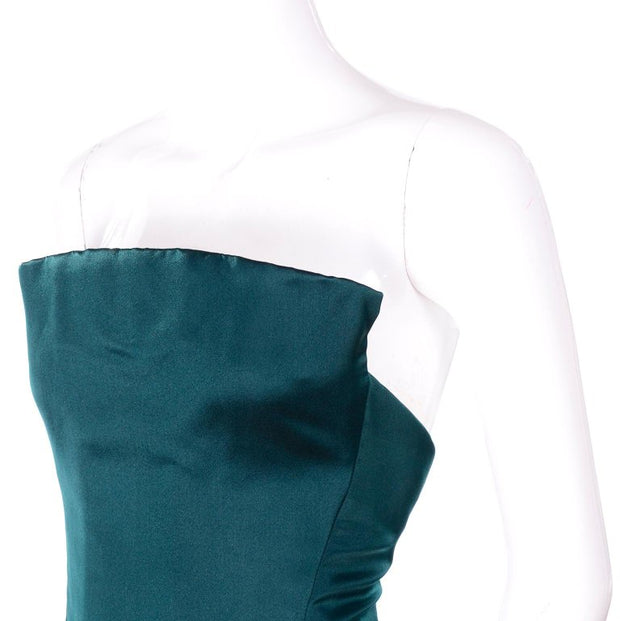 Arnold Scaasi Strapless Green Evening Gown W/ Velvet Panel Trumpet Skirt