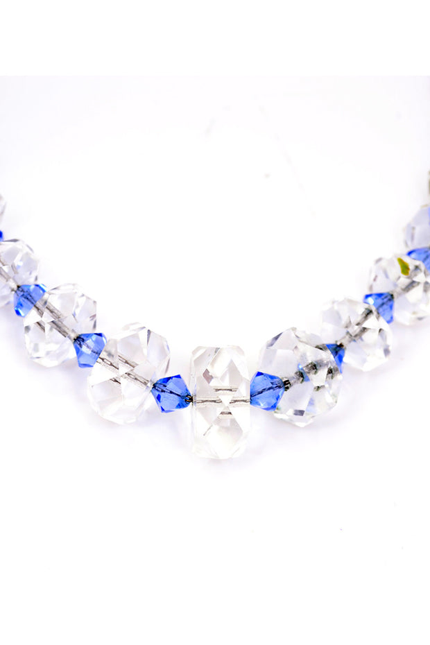 30's 1930s Vintage Blue Clear Crystal Necklace