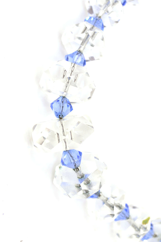Deco 1930s Vintage Blue Clear Crystal Necklace