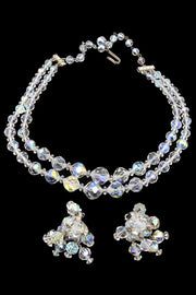 Vintage Crystal Necklace Earrings Demi Parure set