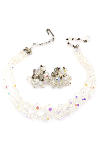 Vintage Crystal Necklace Earrings Demi Parure