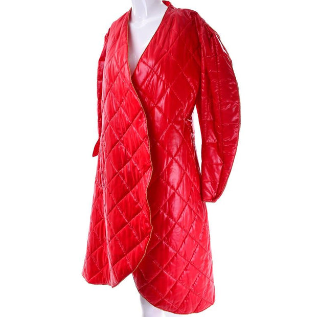1980s Roedean Landeaux Vintage Red Quilted Wrap Coat Size 10/12