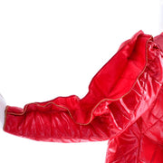 1980s Landeaux Vintage Red Quilted Coat w/ Statement Ruffle Sleeves