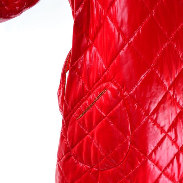 1980s Roedean Landeaux Vintage Red Quilted Coat w/ Hidden Pocket