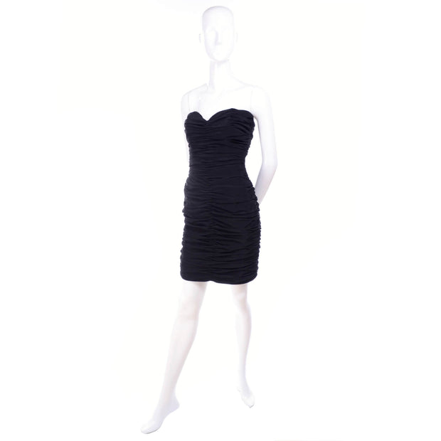 Loris Azzaro Paris Boutique black rouched dress with sweetheart neckline