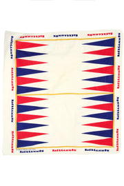 1970s Backgammon Novelty Print Raw Cotton Square Scarf in Red & Blue