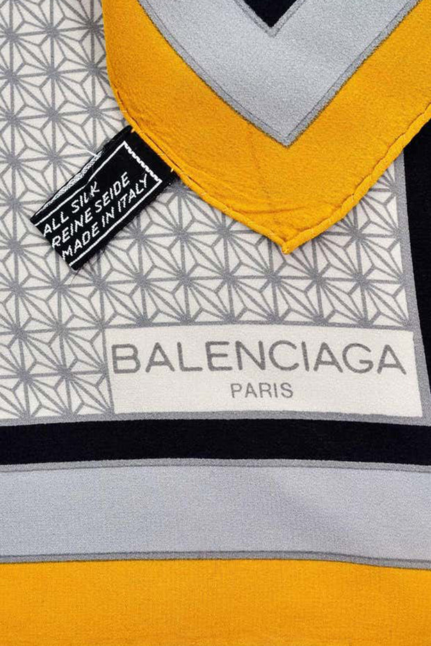 Balenciaga Orange Yellow Black Gray Vintage Designer Silk Scarf