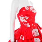 Vintage Barboglio Cristina Jan 2 Pc Strapless Ruffled Peplum Dress in Red Floral Print