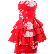 Vintage Barboglio Cristina Jan 2 Pc Strapless Peplum Dress in Red Floral Print