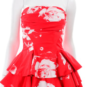 Vintage Barboglio Cristina Jan 2 Pc Strapless Peplum Dress in Red Floral Print w Ruffles