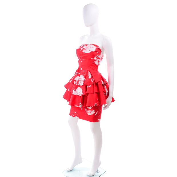 Vintage Barboglio Cristina Jan 2 Pc Strapless Peplum Dress in Red Floral Print Ruffles