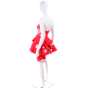 Vintage Barboglio Cristina Jan 2 Pc Strapless Peplum Dress in Red Floral Print 80s 90s