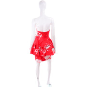 Vintage Barboglio Cristina Jan 2 Pc Strapless Peplum Dress in Red Floral Print 1990s