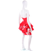 Vintage Barboglio Cristina Jan 2 Pc Strapless Peplum Dress in Red Floral Print 90s