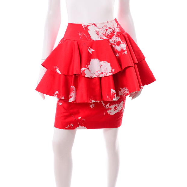 Vintage Barboglio Cristina Jan 2 Pc Strapless Peplum Dress in Red Floral Print Skirt Top
