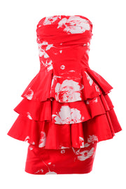 Ruffled Vintage Barboglio Cristina Jan 2 Pc Strapless Peplum Dress in Red Floral Print