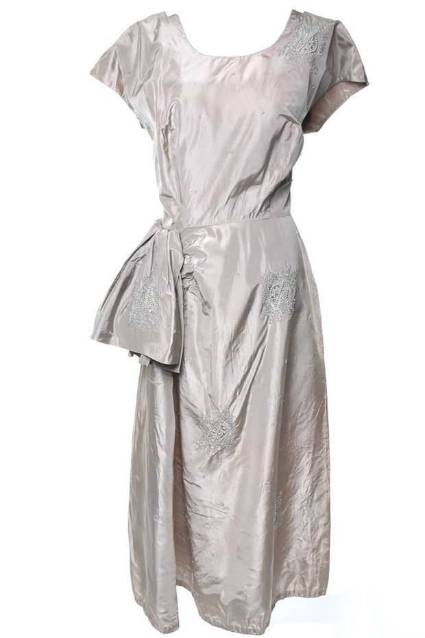 1940s Vintage Dress Pale Mauve Beaded Rhinestones Size 12 - Dressing Vintage