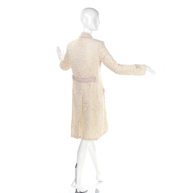 1970s Bill Blass Cream Lace Coat w/ Pink & Blue Ribbon Deadstock