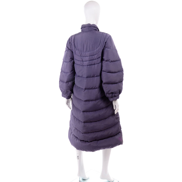 1980s Quilted Bill Blass Purple Vintage Puffer Coat