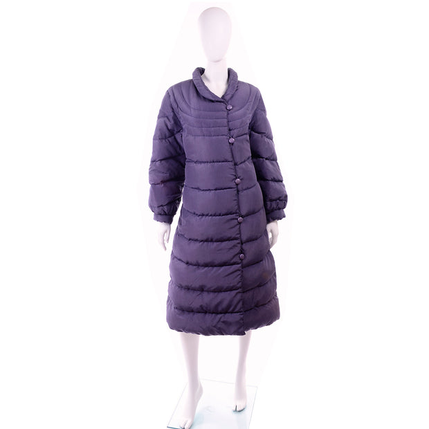 1980s Bill Blass Purple Vintage Puffer Coat