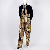1970s/1980s Bill Blass brown floral silk high waisted pants, jacket and scarf