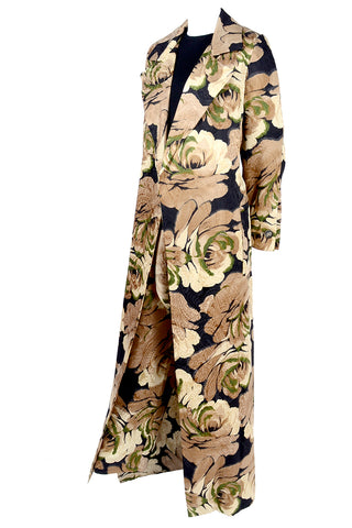 1960s Vintage Dress In Gold Floral Satin With Sleeveless Jacket