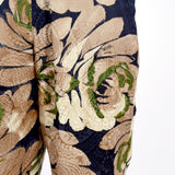 Large floral print on silk Bill Blass vintage pants