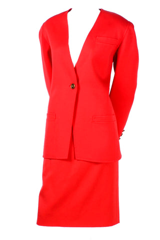Bill Blass Red Orange wool skirt suit