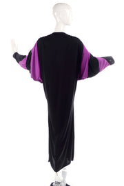 One Size Bill Tice Vintage Black & Purple Jersey Dress W Batwing Sleeves