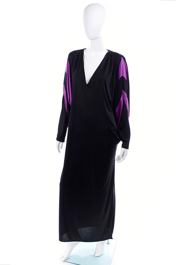 1980s Bill Tice Vintage Black & Purple Jersey Dress W Batwing Sleeves