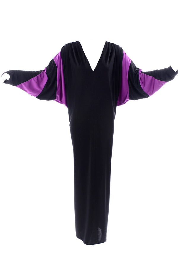 Dramatic Bill Tice Vintage Black & Purple Jersey Dress W Batwing Sleeves
