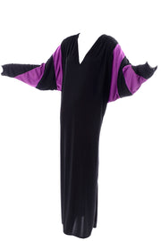 Bill Tice Vintage Black & Purple Jersey Dress W Batwing Sleeves