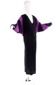 80s Bill Tice Vintage Black & Purple Jersey Dress W Batwing Sleeves
