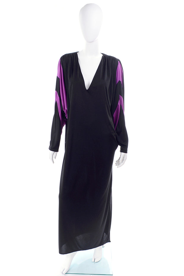 Bill Tice Vintage Black & Purple Dress W Batwing Sleeves