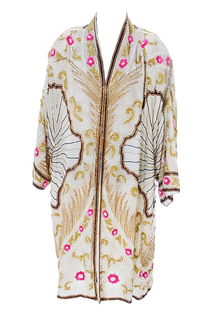 1980s heavily beaded evening coat in the style of a 1920's flapper coat