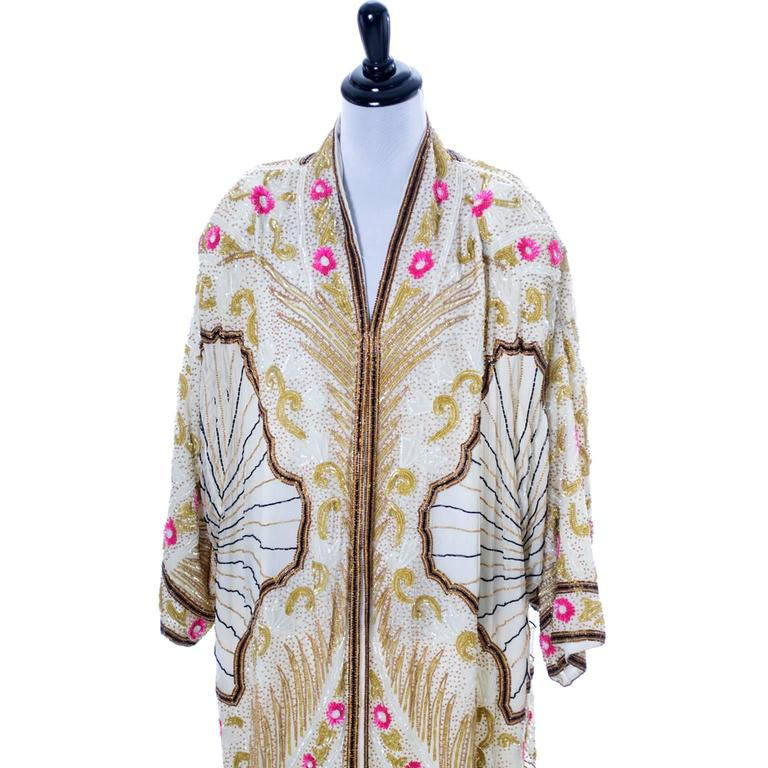 1980s heavily beaded evening coat in the style of a 1920's flapper coat one size
