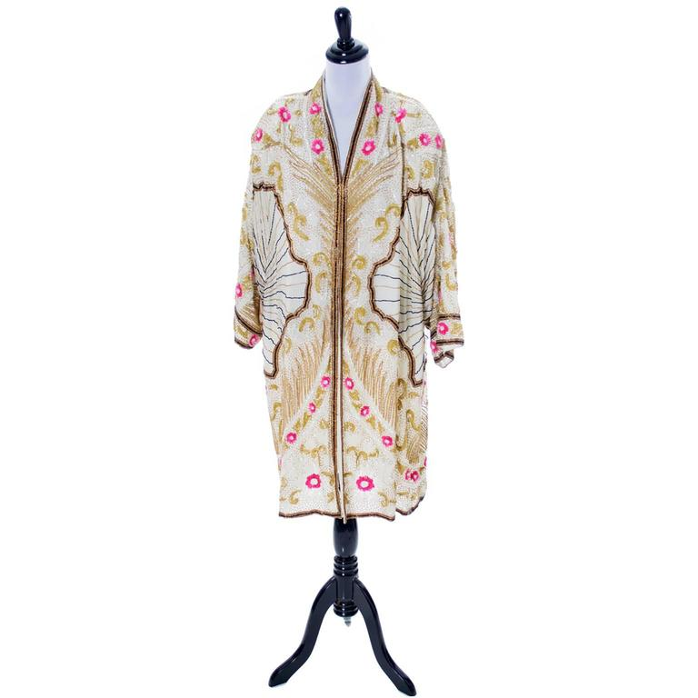 1980s vintage beaded evening coat inspired by 1920's flapper coats