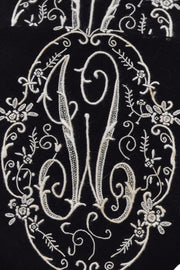Mourning Monogrammed Vintage Handkerchiefs Black W Initial