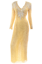 Black Tie Gold Beaded Evening Dress