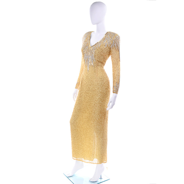 1980s Fully Beaded Gold Vintage Evening Dress w/ Open Cutout Back
