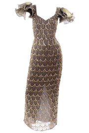 Black Tie Gold Beaded Evening Gown Dress W Statement Fluter Sleeves
