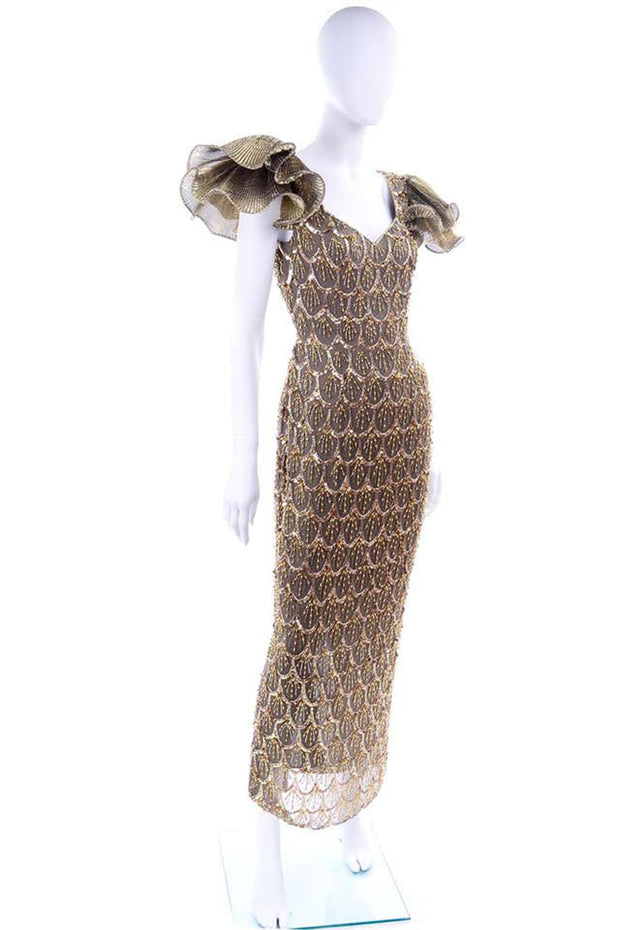 80s Black Tie Gold Beaded Evening Gown Dress W Statement Fluter Sleeves w low back