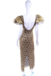Low Back Black Tie Gold Beaded Evening Gown Dress W Statement Fluter Sleeves