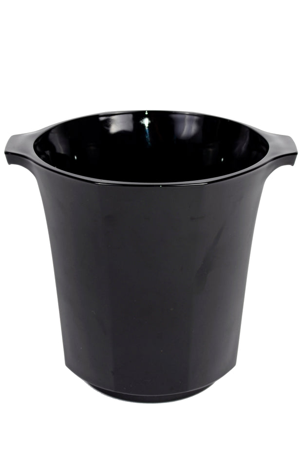 Black Glass Octagonal Ice Bucket